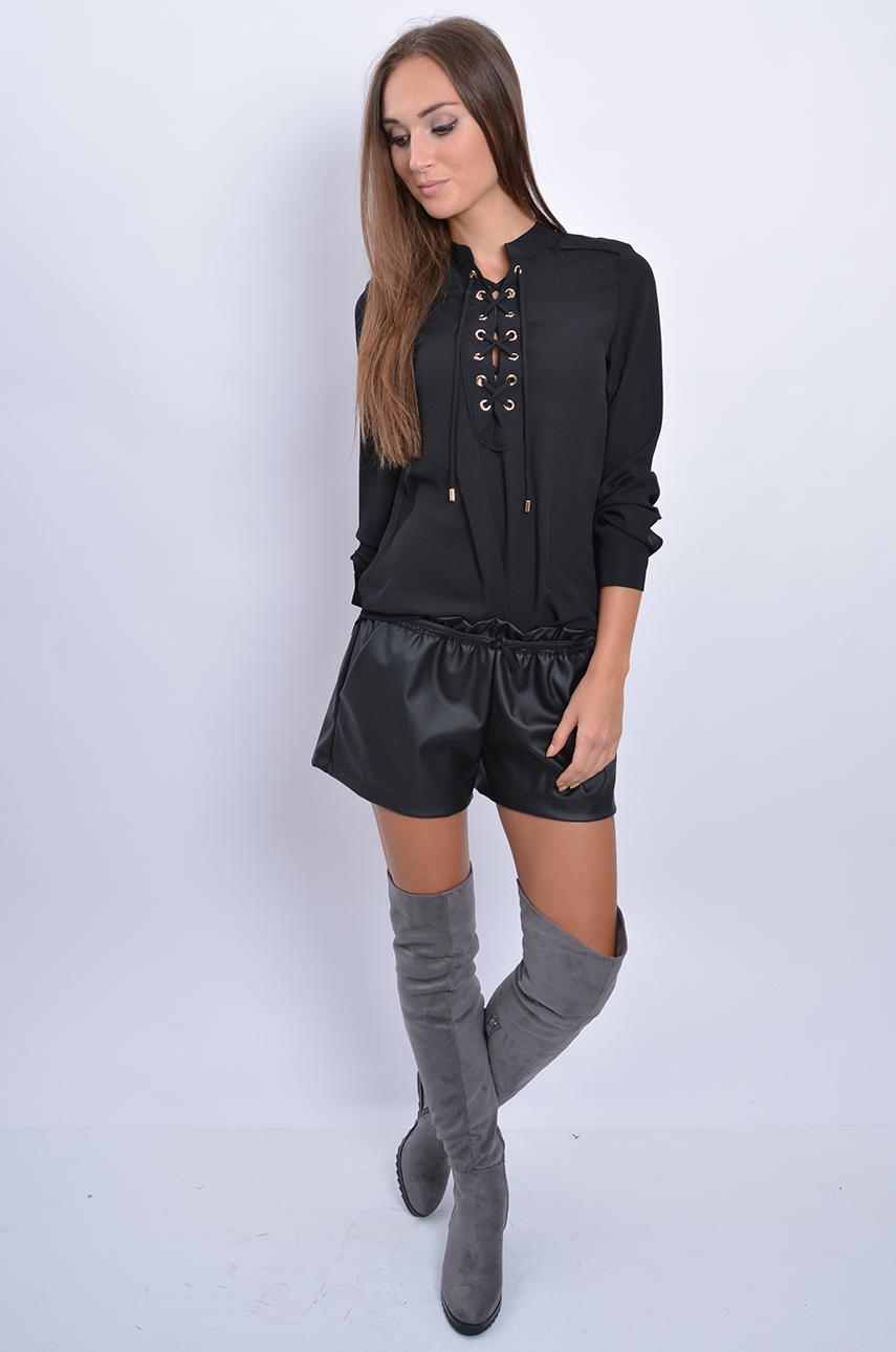 Inne rodzaje Bluzka koszulowa sznurowany dekolt czarna - Cocomoda.pl - odz... RX64