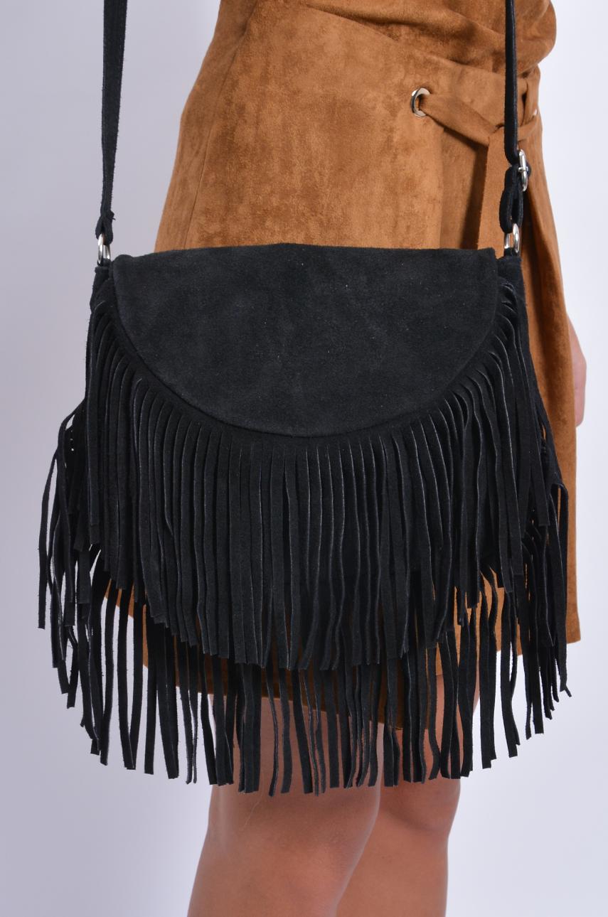 Mała torebka z frędzlami zamsz naturalny czarna