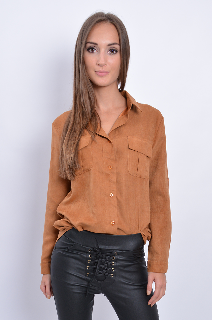 Koszula zamszowa dwie kieszonki kamel Cocomoda.pl odzież  s2hEA