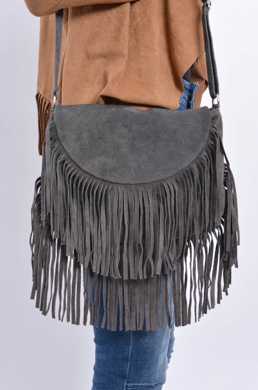 Mała torebka z frędzlami zamsz naturalny szara