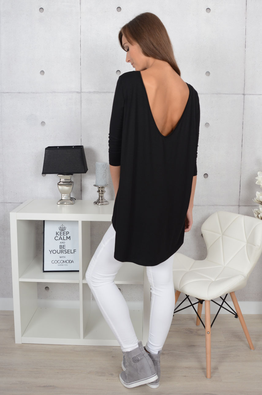 Asymetryczna bluzka z dekoltem na plecach czarna