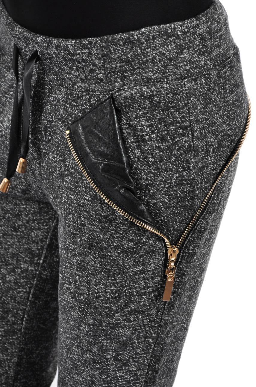 33a95074f2f5 Spodnie dresowe melanż skórzane wstawki - Cocomoda.pl - odzie...