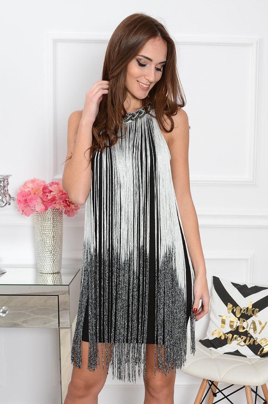 18735d45e4e8aa Sukienka z długimi srebrnymi frędzlami Sklep internetowy coco...