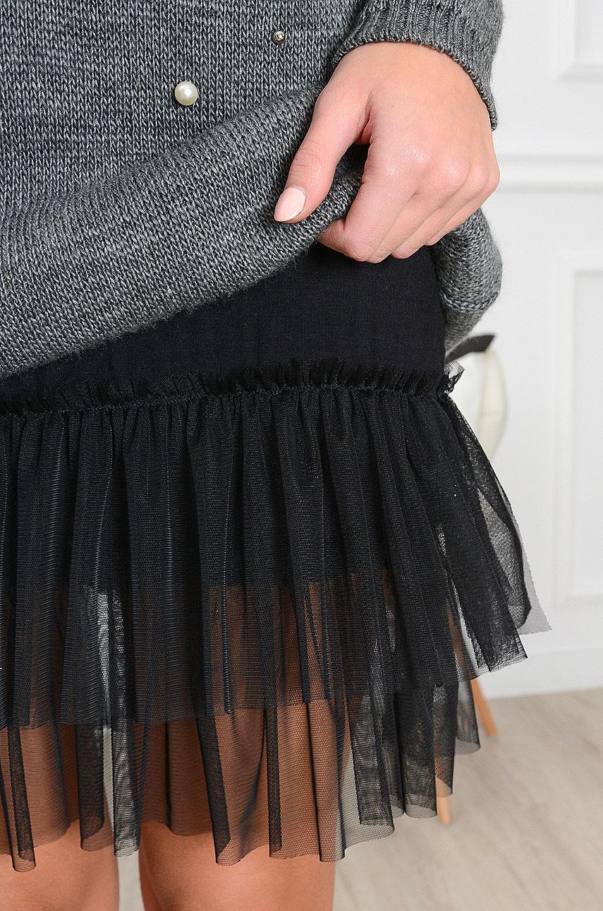 200677a8 Halka z tiulem do swetrów czarna