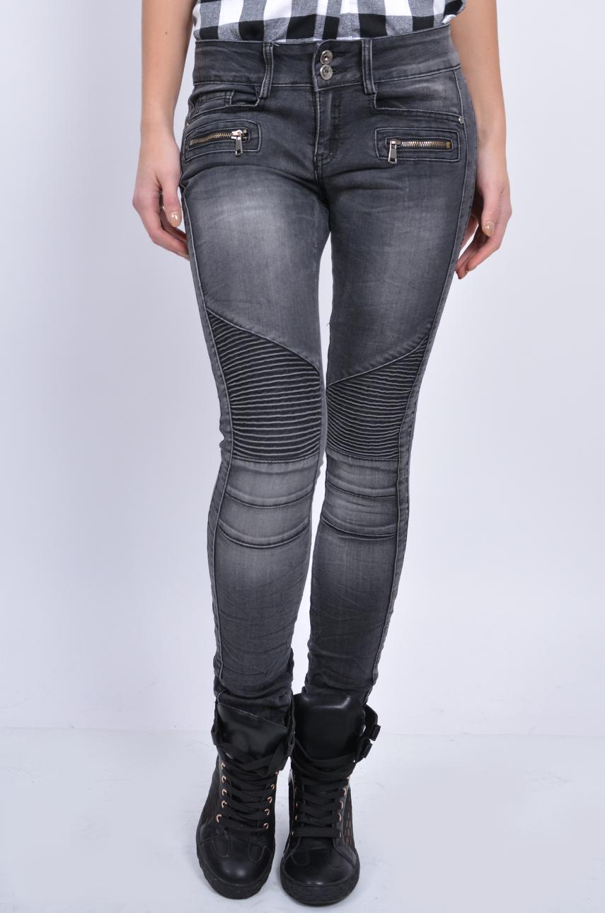001593708405 Spodnie jeans z przeszyciami i zamkami czarne - Cocomoda.pl -...