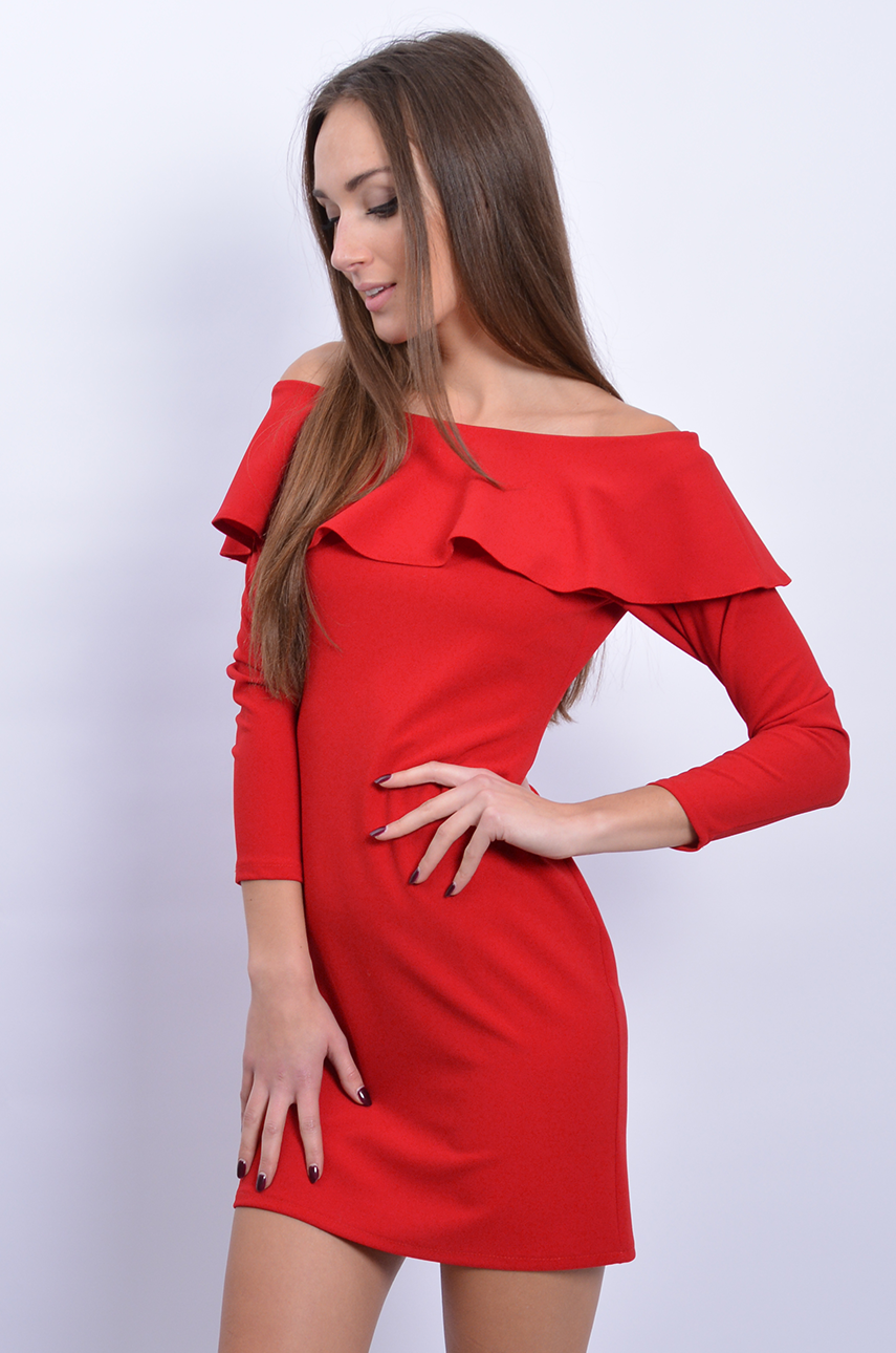 cb3582884bafae Sukienka hiszpanka z falbaną czerwona - Cocomoda.pl - odzież ...