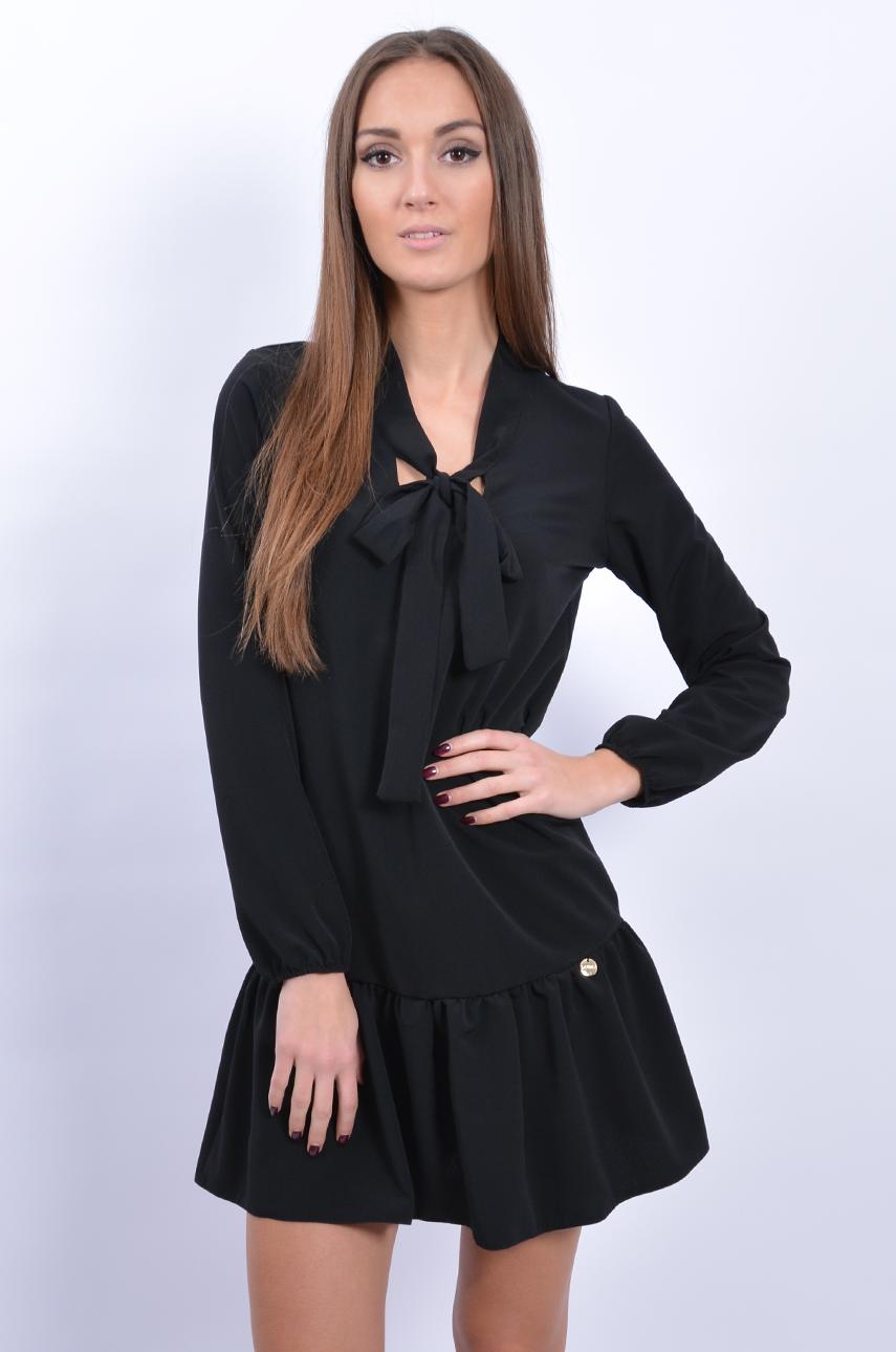 8cb814ada2ce39 Sukienka z falbaną i wiązaniem czarna - Cocomoda.pl - odzież ...
