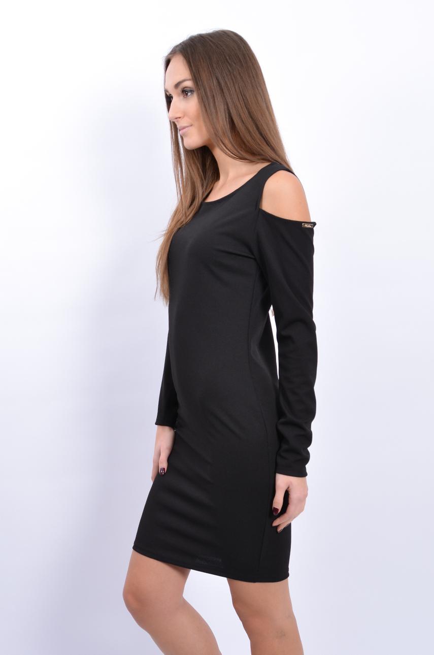 1cb3e1b629 Sukienka tuba z wycięciami na ramionach czarna - Cocomoda.pl ...