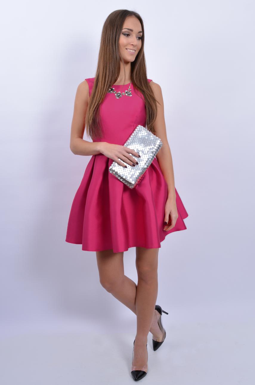 Sukienka Rozkloszowana Z Wiązaniem Z Tyłu Fuksja Cocomodap