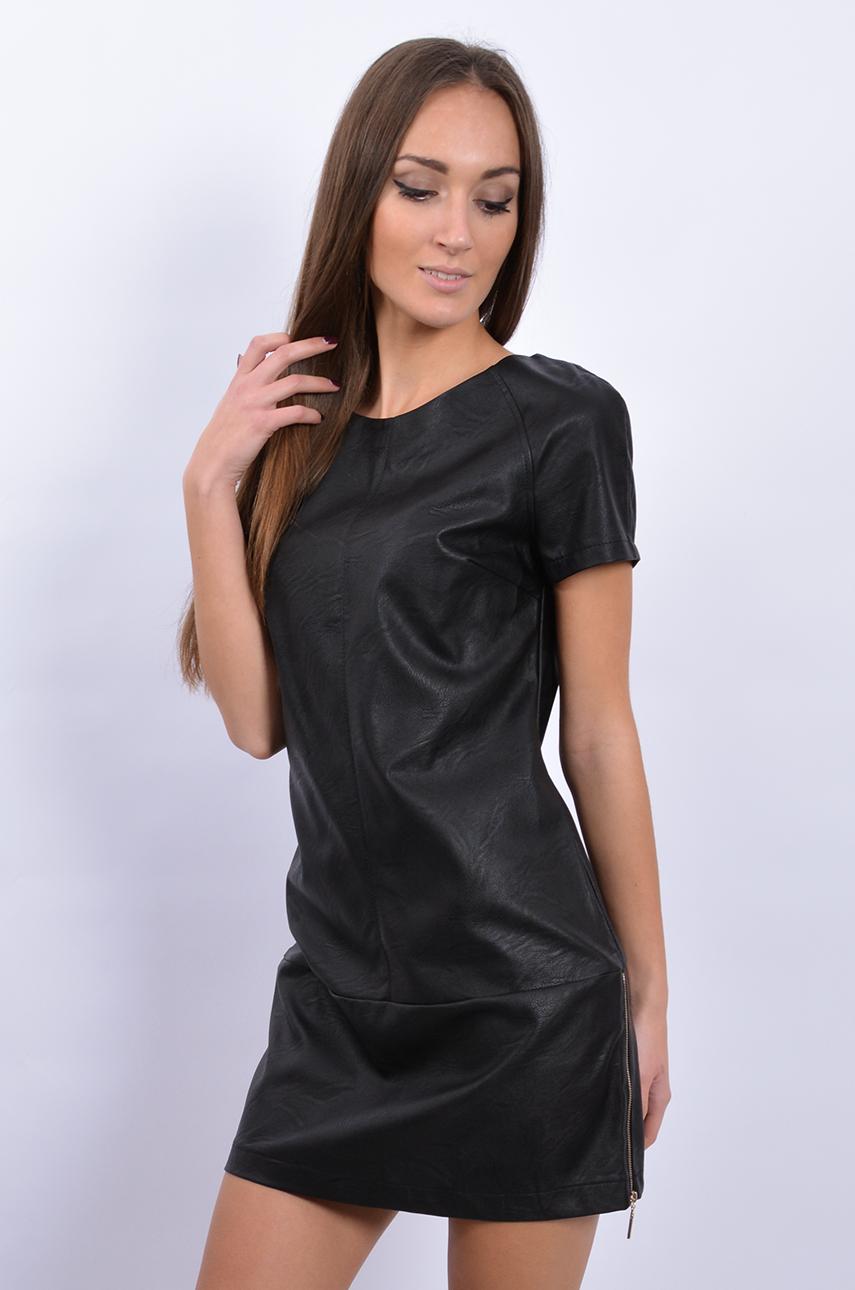 919b5d303c Unikalna sukienka skórzana z zamkami czarna - Cocomoda.pl - o...