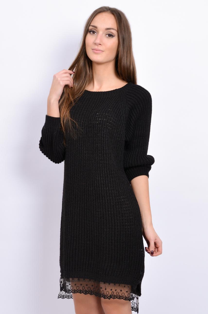 02e481b9 Sukienka swetrowa z koronką czarna - Cocomoda.pl - odzież dam...