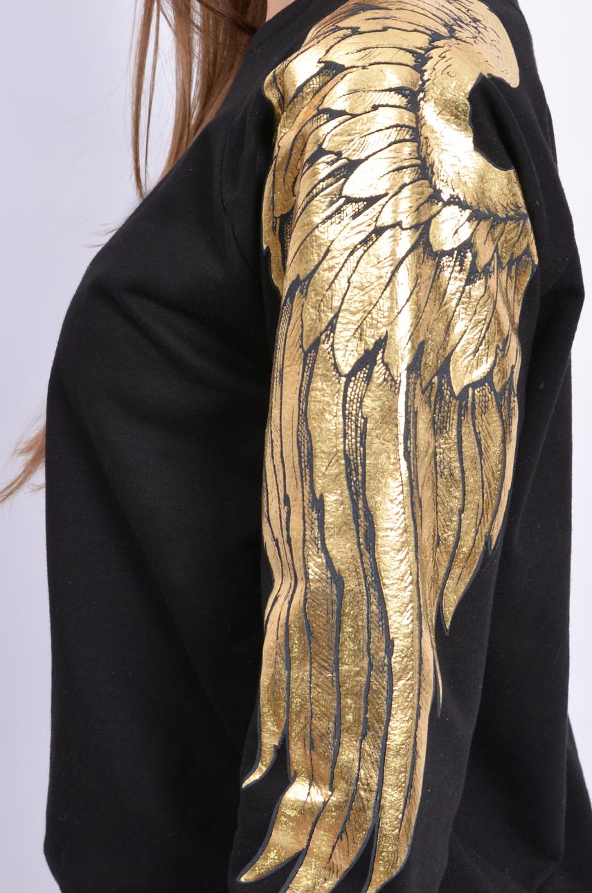 e5bba940109546 Bluza ze złotymi skrzydłami czarna - Cocomoda.pl - odzież dam...