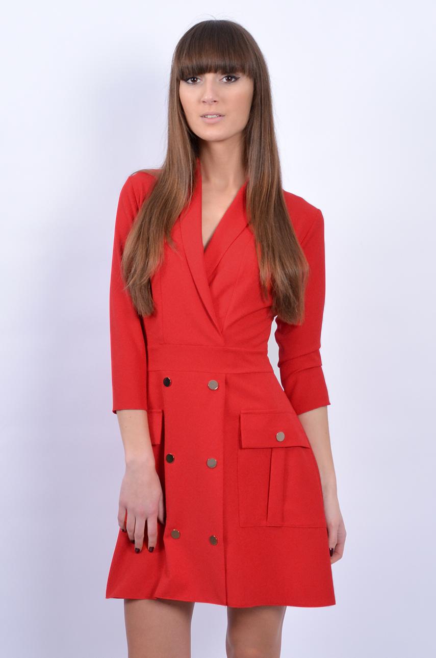 b72844cddc Unikatowa sukienka dwurzędowa czerwona - Cocomoda.pl - odzież...