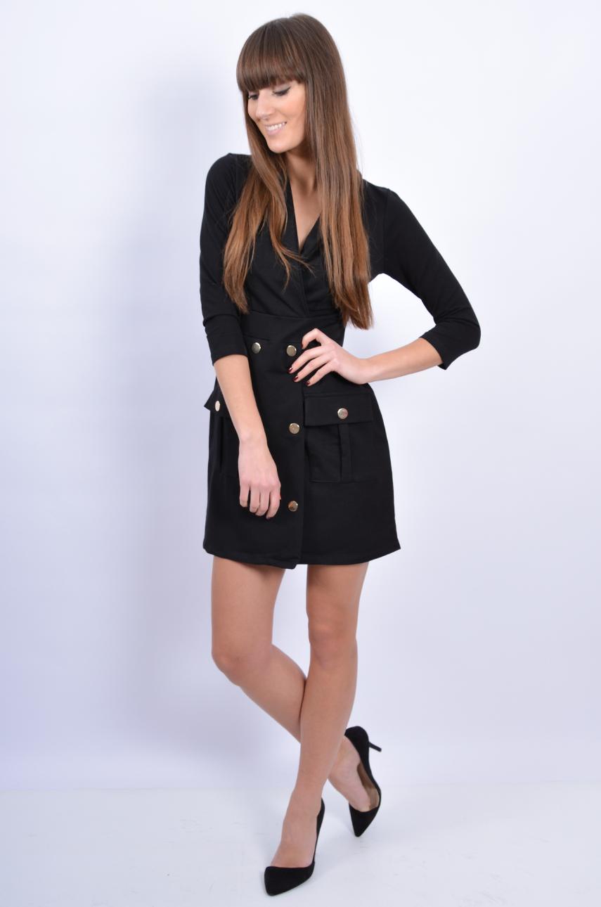 e6e6185735 Sukienka dzianinowa dwurzędowa czarna - Cocomoda.pl - odzież...
