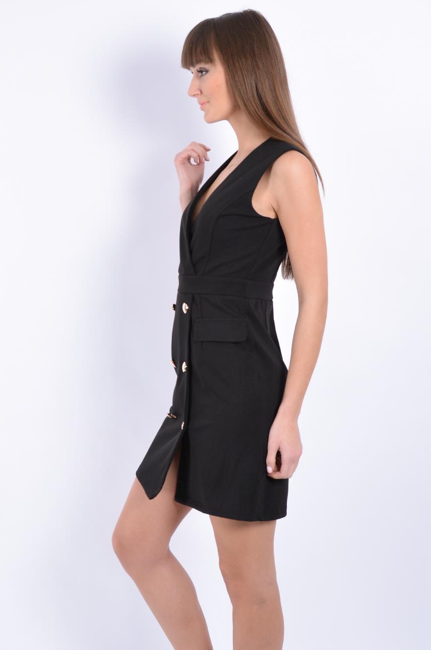 e5e1ee63b4 Sukienka dwurzędowa z patkami czarna - Cocomoda.pl - odzież d...