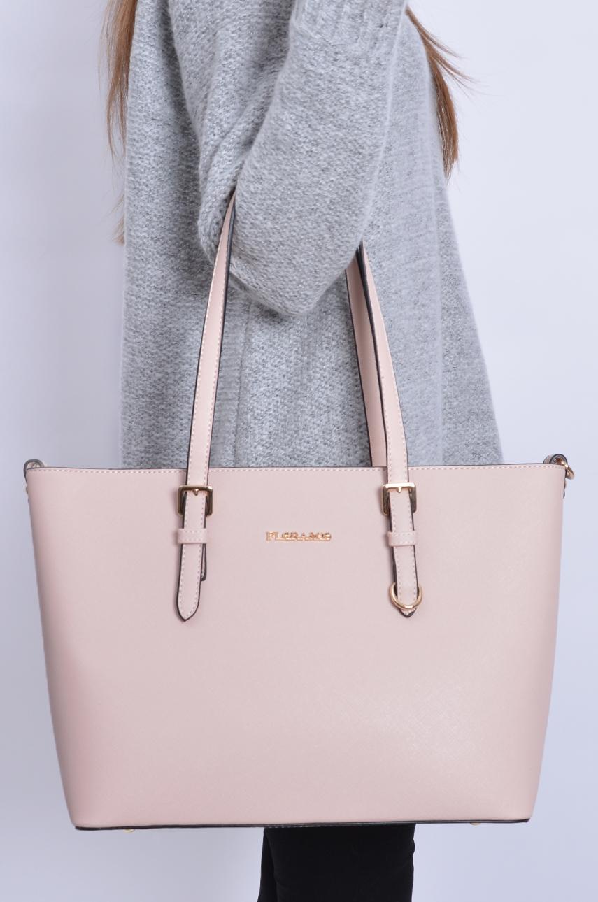 bbbc6dcd16fbf Bardzo Elegancka torba sztywny kuferek pudrowy róż - Cocomoda.pl - o  VC-
