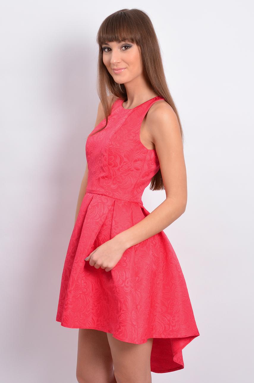 6575cb6c Sukienka rozkloszowana asymetryczna malinowa