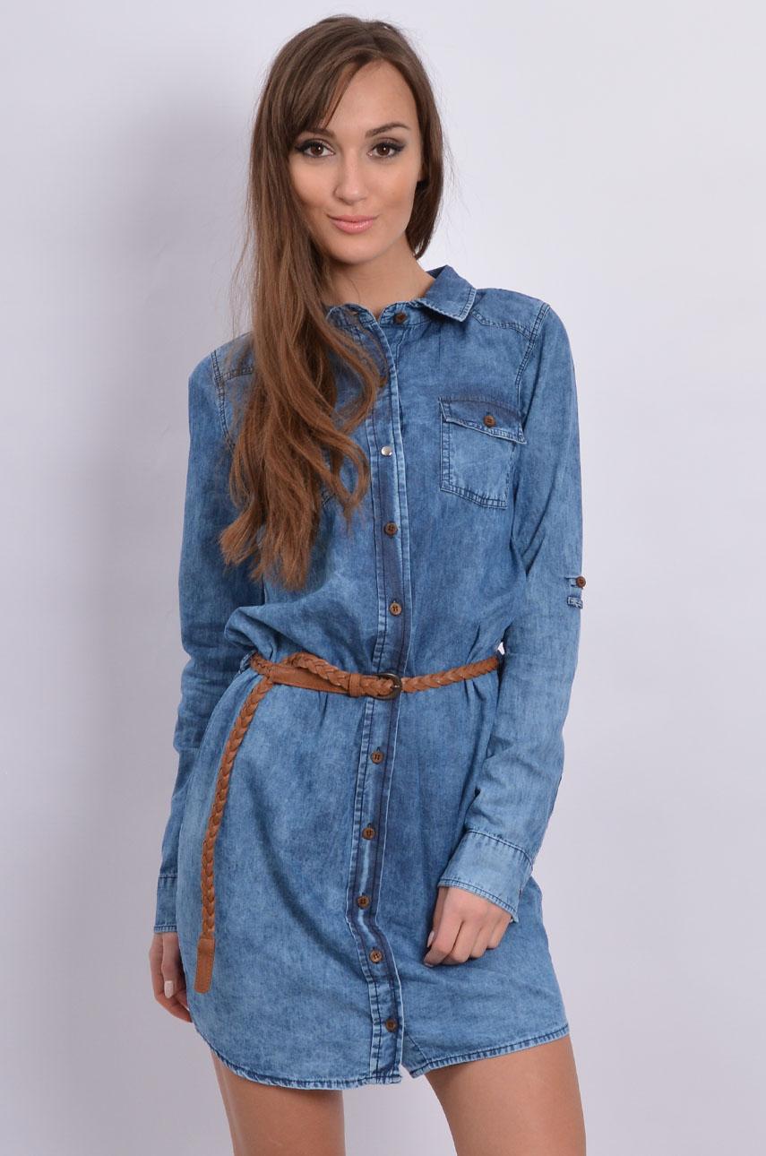 6ac9372653 Sukienka jeansowa koszulowa z paskiem - Cocomoda.pl - odzież ...
