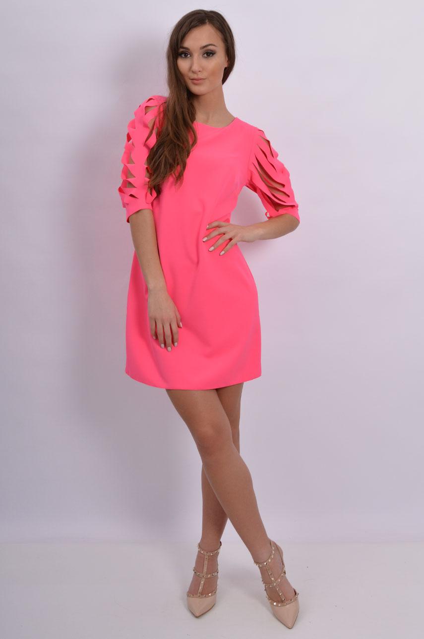 c991d7afaf Sukienka pocięte rękawy neonowy róż - Cocomoda.pl - odzież da...
