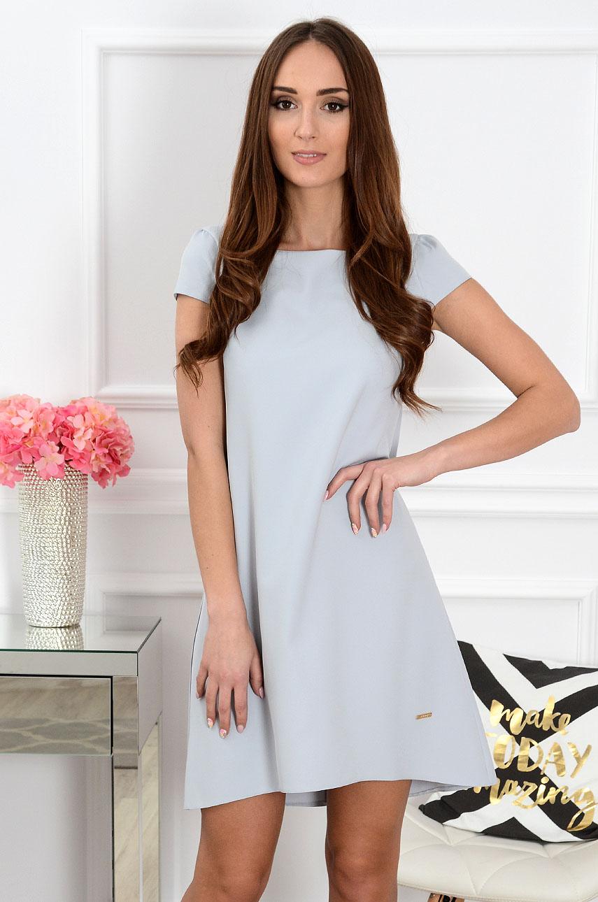 Sukienka z łezką dłuższy tył szara Rozmiar: S