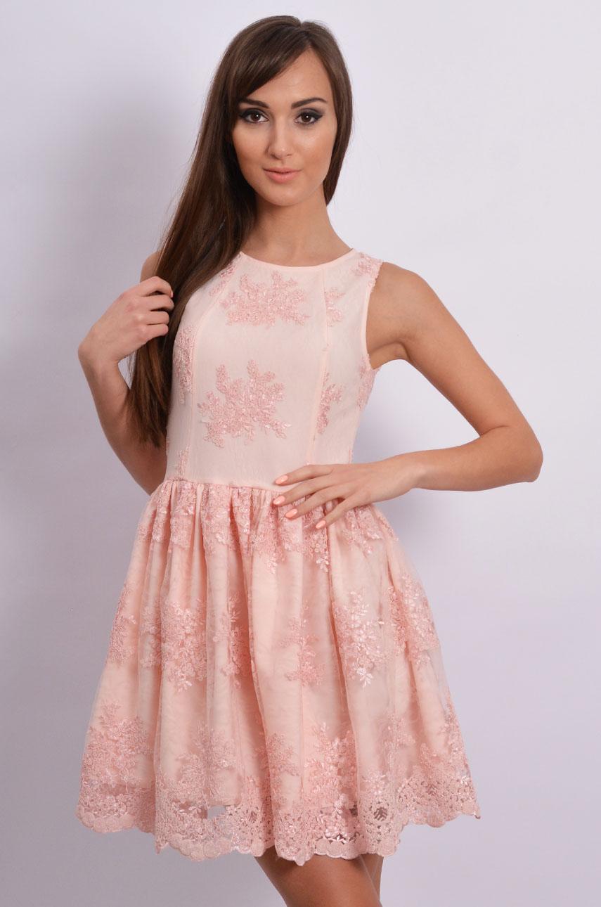 5ea2e27859 Znane Ekskluzywna sukienka z koronki pudrowy róż - Sklep cocomoda.pl  XJ-11