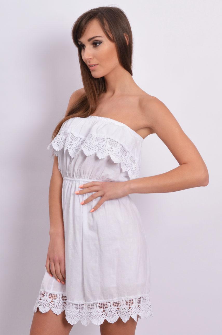 952fb43b91 Sukienka hiszpanka bawełniana z koronką biała - Cocomoda.pl -...