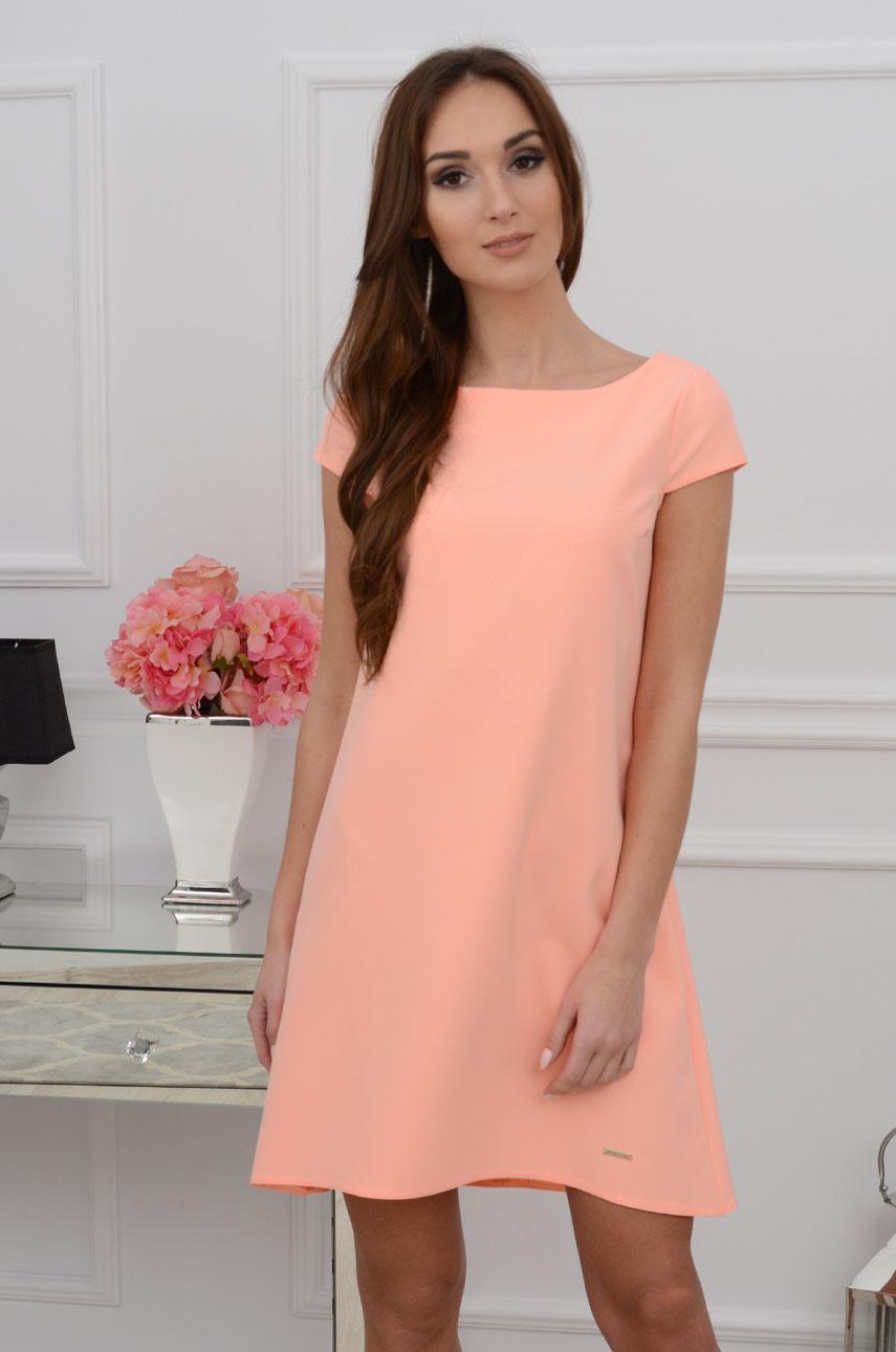 Sukienka z łezką dłuższy tył brzoskwiniowy neon Rozmiar: L