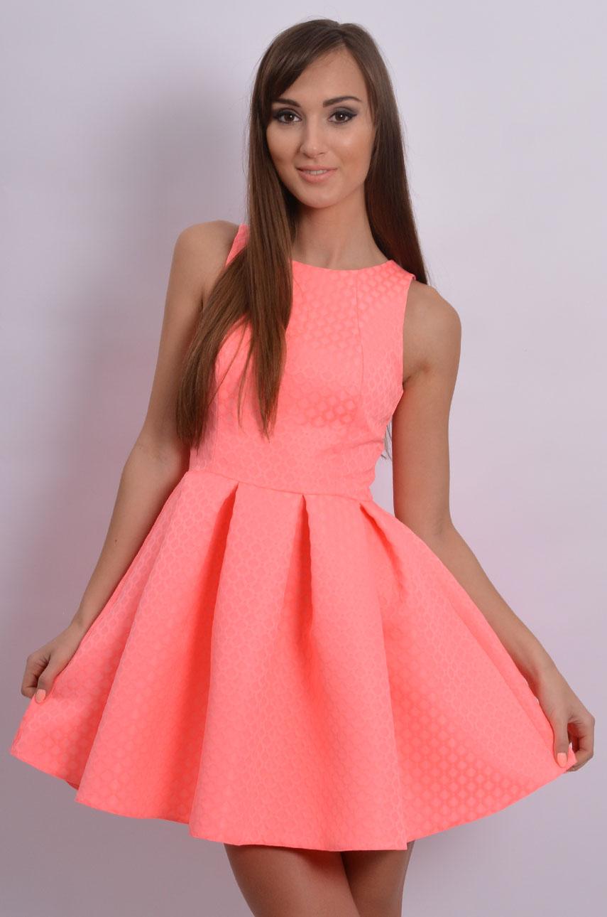 67901a6246a2 Sukienka rozkloszowana w zakładki neonowa romby - Sklep cocom...