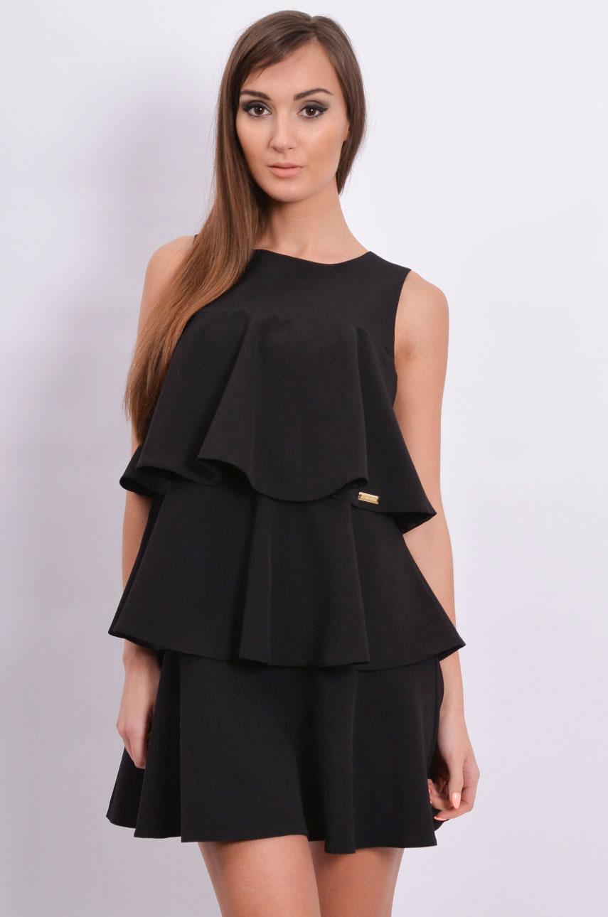 Sukienka trzy falbany czarna