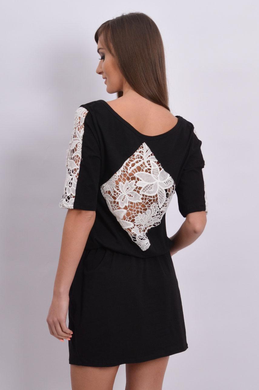 1177ca30f80d51 Sukienka dresowa z wstawkami z koronki czarna - Cocomoda.pl -...