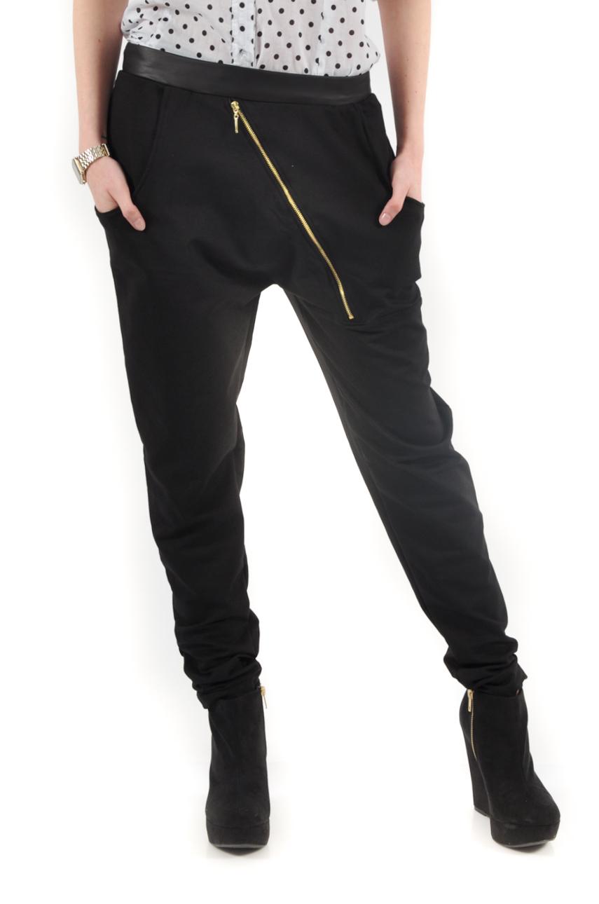 Spodnie dresowe baggy skośny suwak czarne