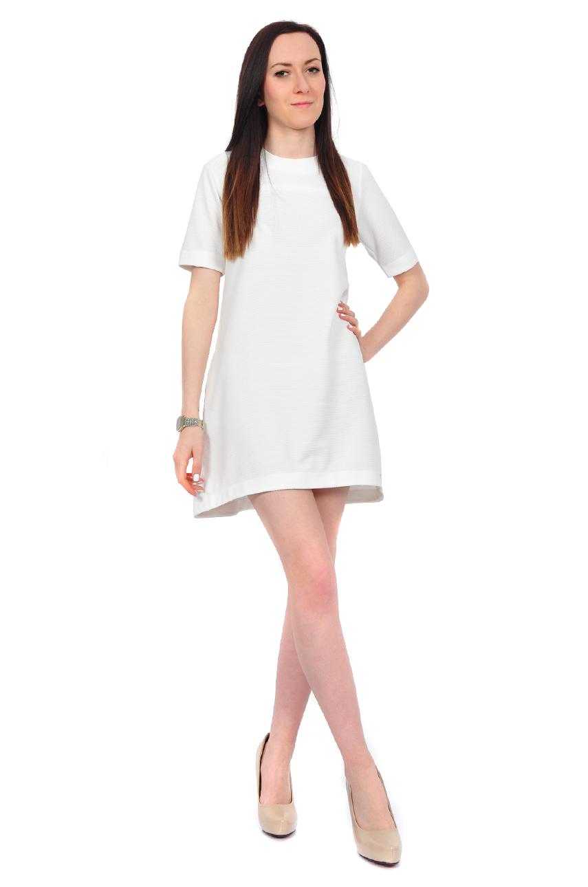 Sukienka gofrowana fason A biała