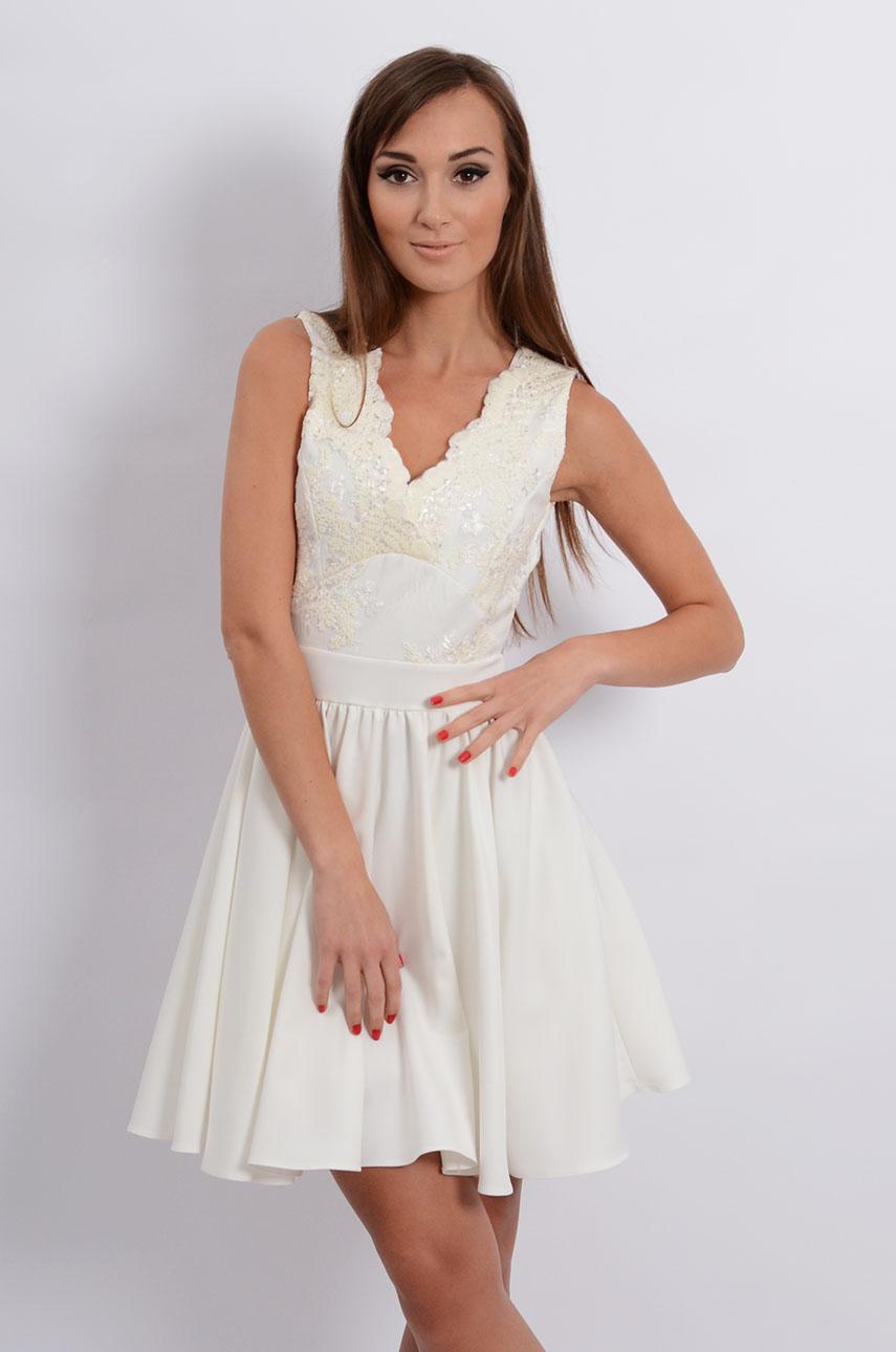Sukienka z koronkową górą kremowa Samanta Rozmiar: XS