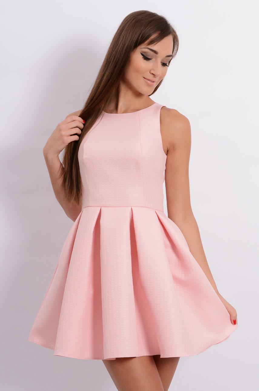 Niesamowite Sukienka rozkloszowana w zakładki pudrowy róż - Cocomoda.pl -... LQ99