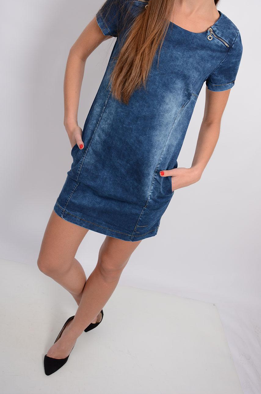 173fadf937 Sukienka jeansowa z zamkami krótki rękaw - Cocomoda.pl - odzi...