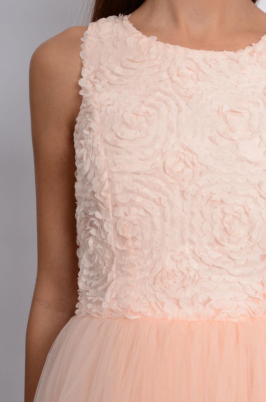 dfd83da0a6 Unikalna sukienka z tiulem kwiaty 3D pudrowy róż - Cocomoda.p...