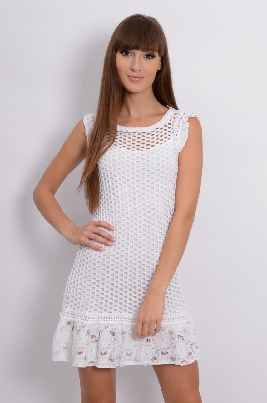 Sukienka ażurowa z koronkową falbanką biała