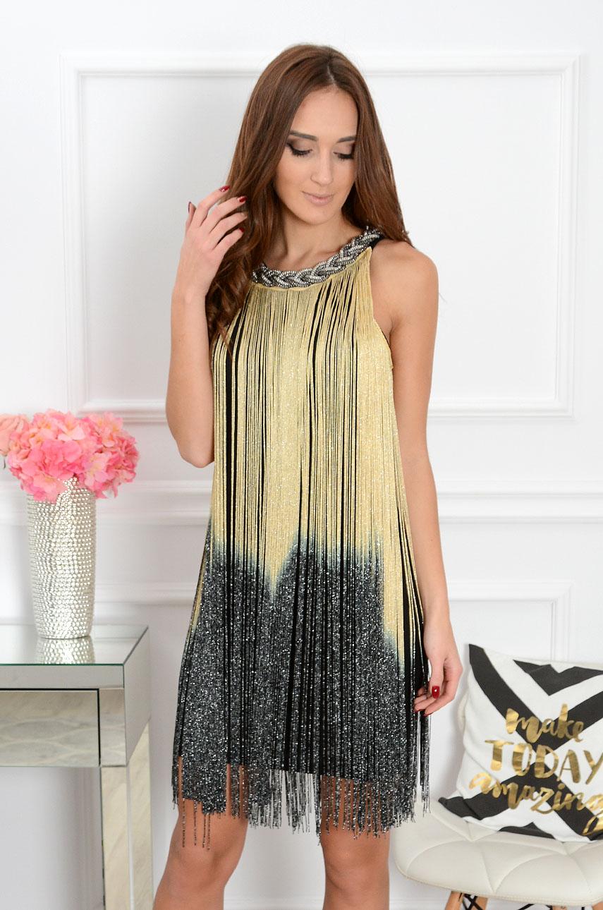 0da1a6ea05 Sukienka z długimi złoto-srebrnymi frędzlami - Cocomoda.pl - ...