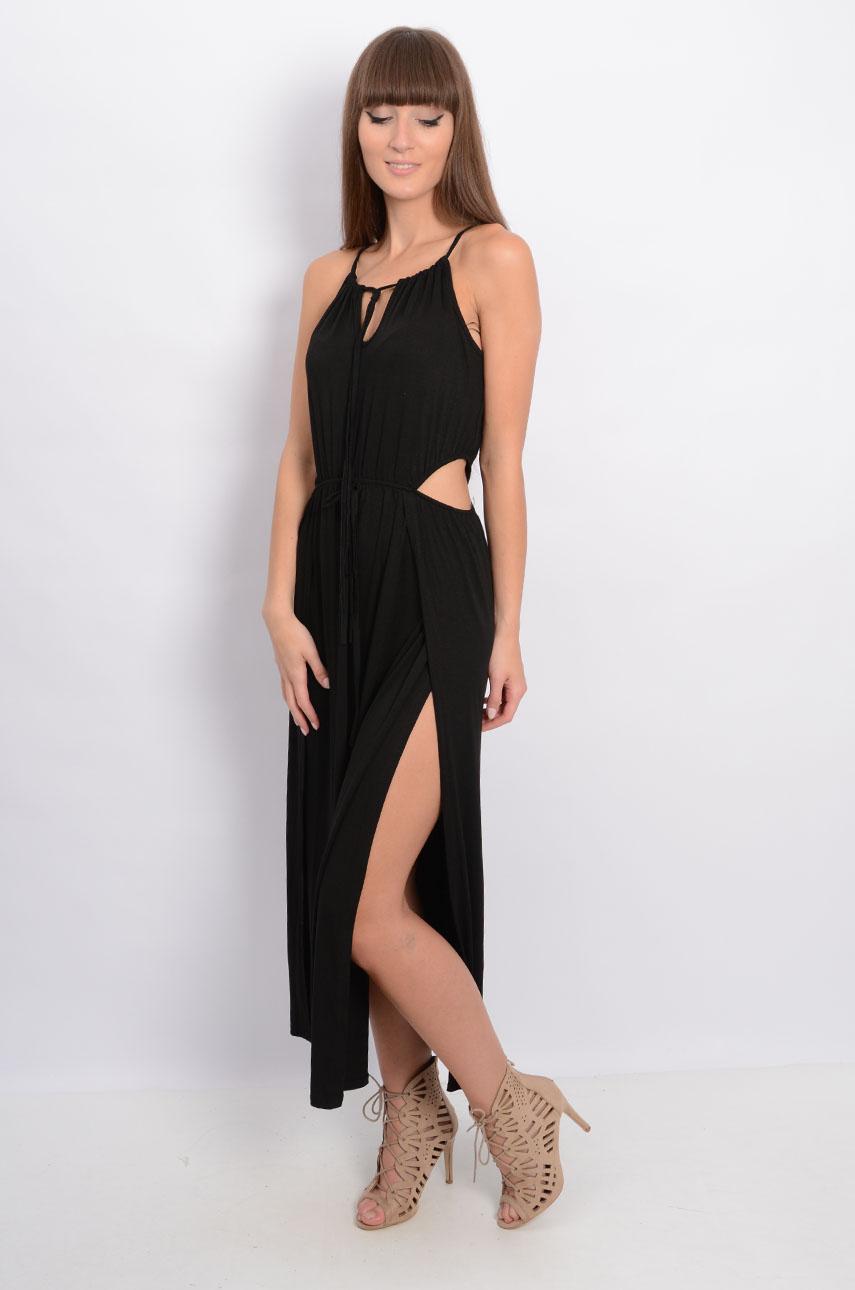 Sukienka maxi z seksownymi wycięciami czarna