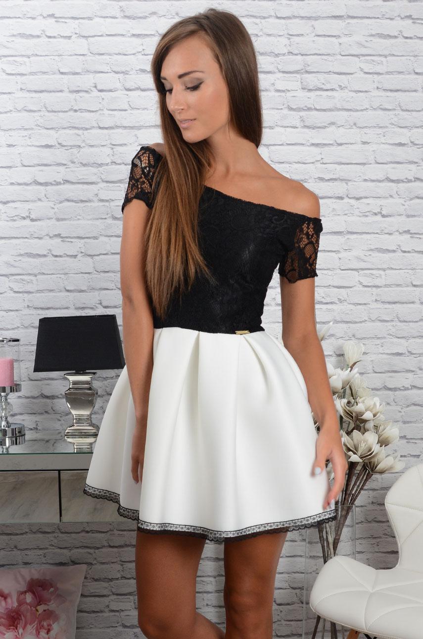 Sukienka Grace z koronką czarno biała