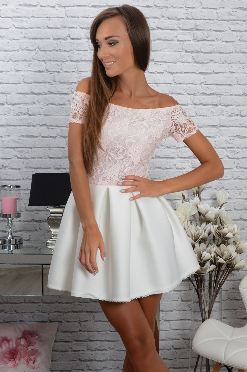 30e0028753 Sukienka Grace z koronką różowo-biała