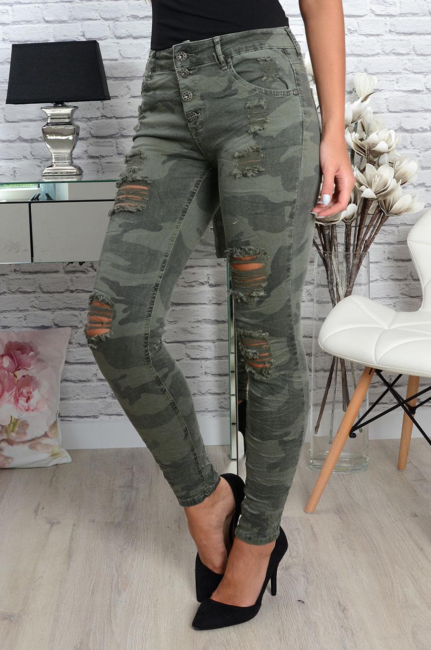 bc3d5072 Spodnie moro z dziurami khaki