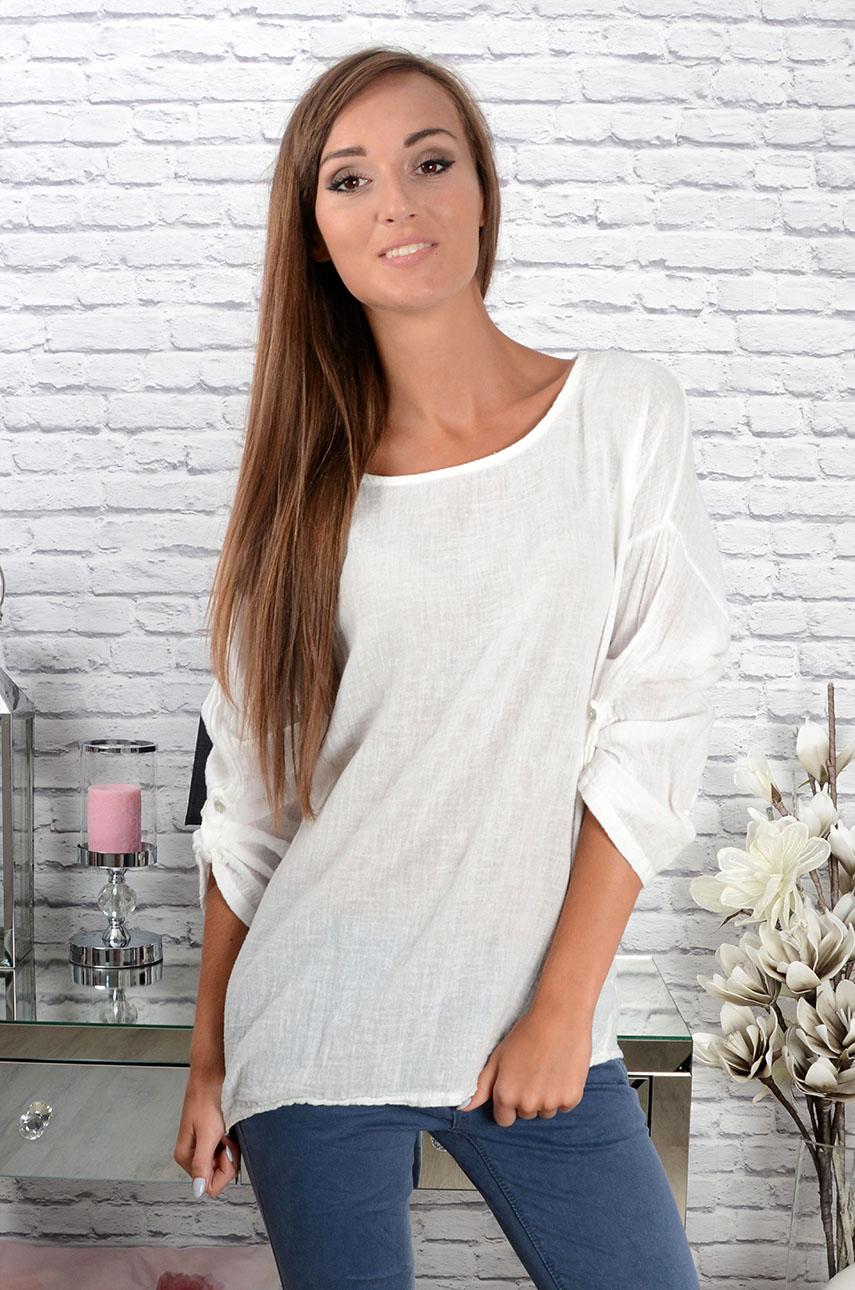 e2e649dbf2 Lniana bluzka Luna biała - Cocomoda.pl - odzież damska