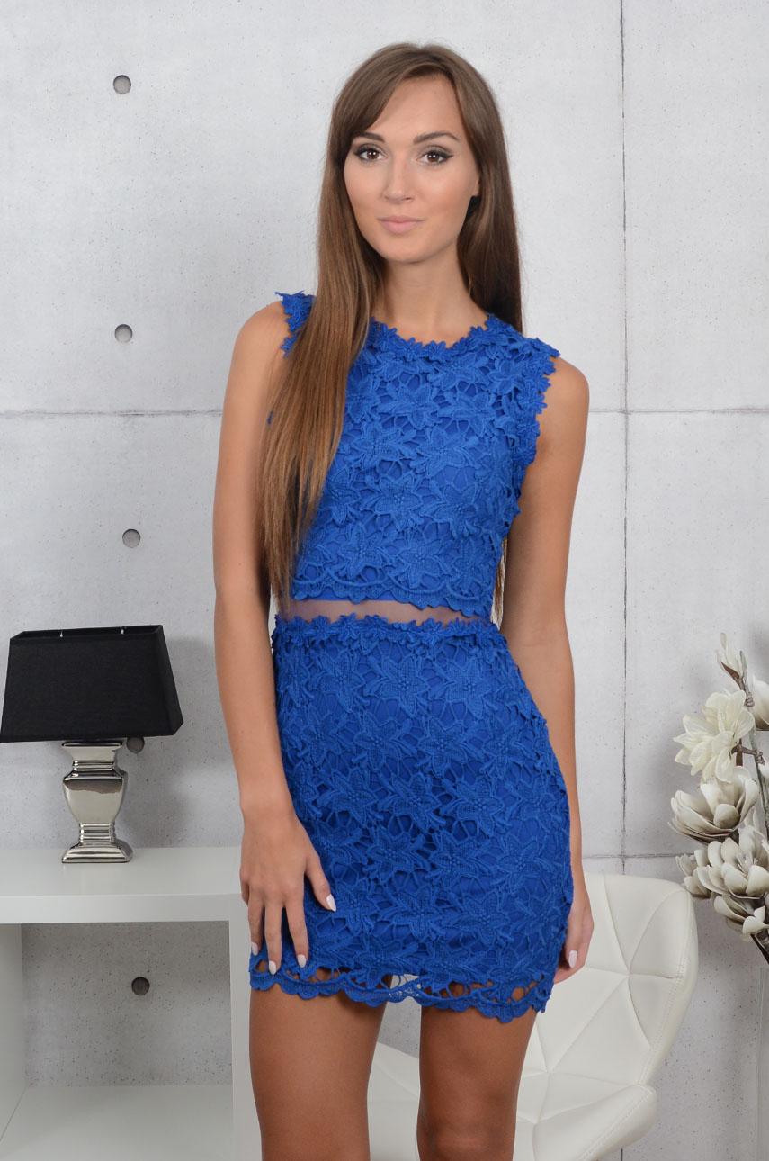 Sukienka z koronki z siateczką kobalt Linda Rozmiar: L