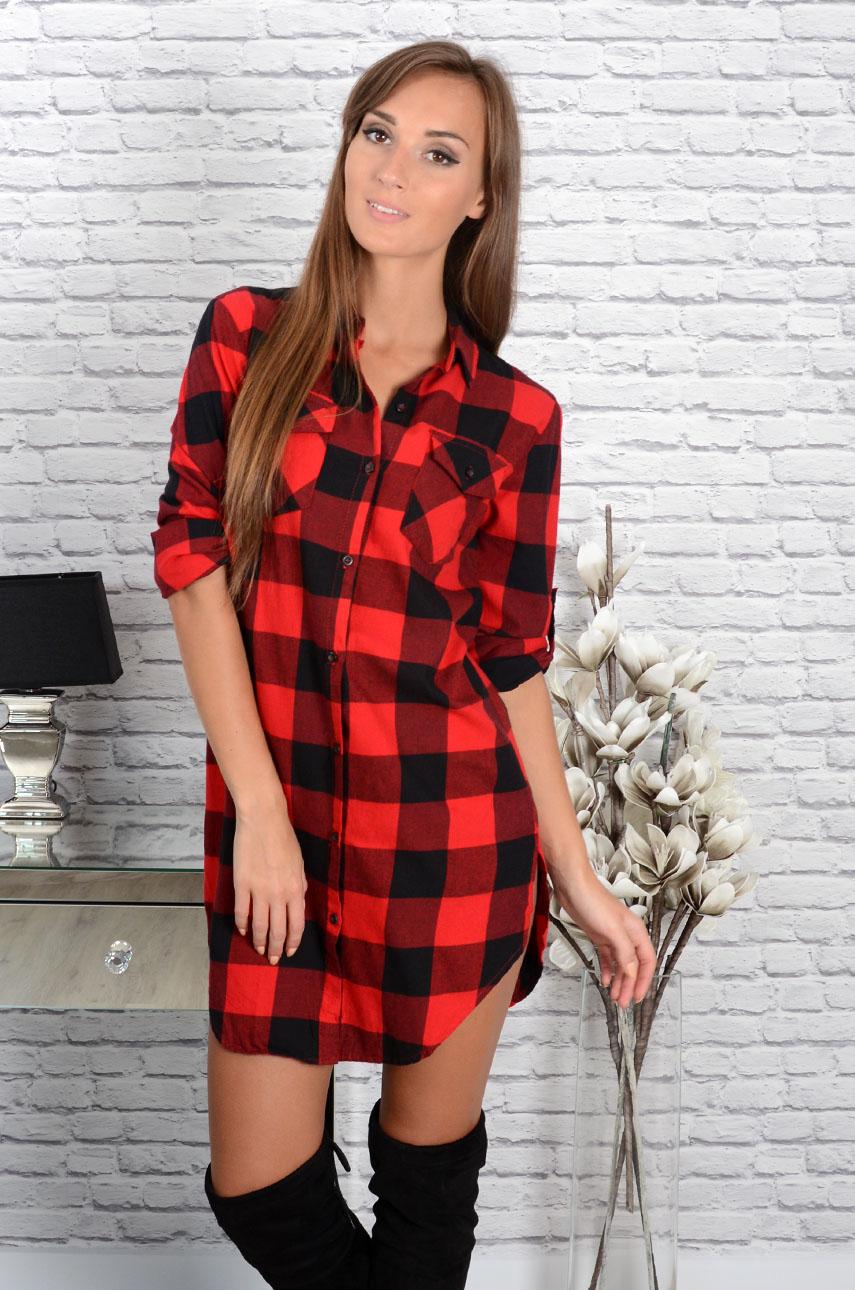 346463899a78dd Długa koszula w grubą kratę czarno-czerwona - Cocomoda.pl - o...