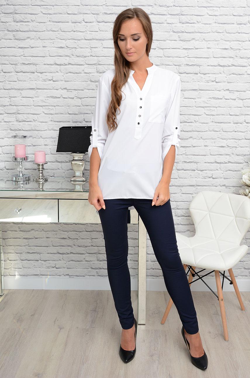 Unikalne Elegancka bluzka koszulowa na stójce biała - Cocomoda.pl - od... DC01