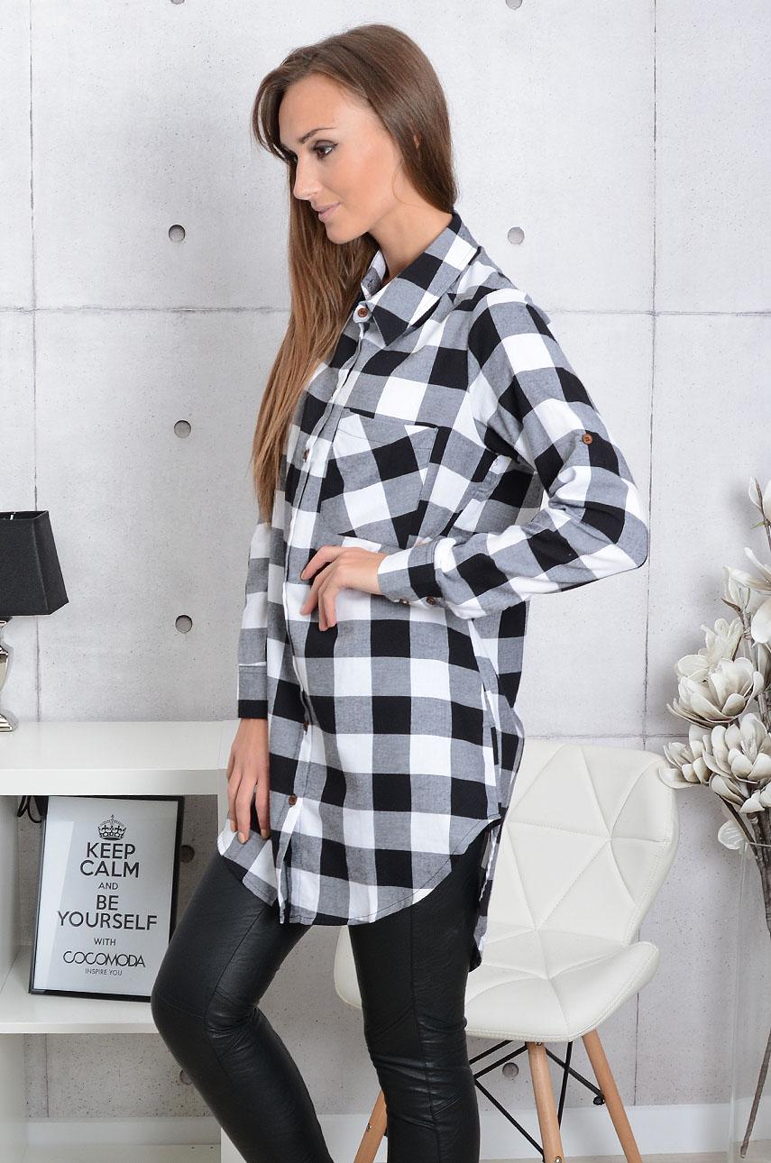 c519128d Długa koszula w kratę Lucy czarno-biała