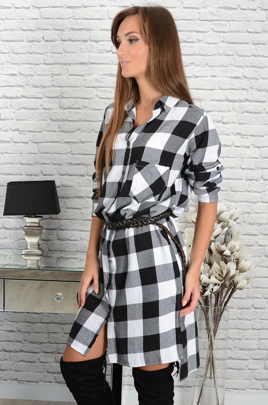 6f6ed050ce Sukienka koszulowa w grubą kratę czarno-biała - Cocomoda.pl ...