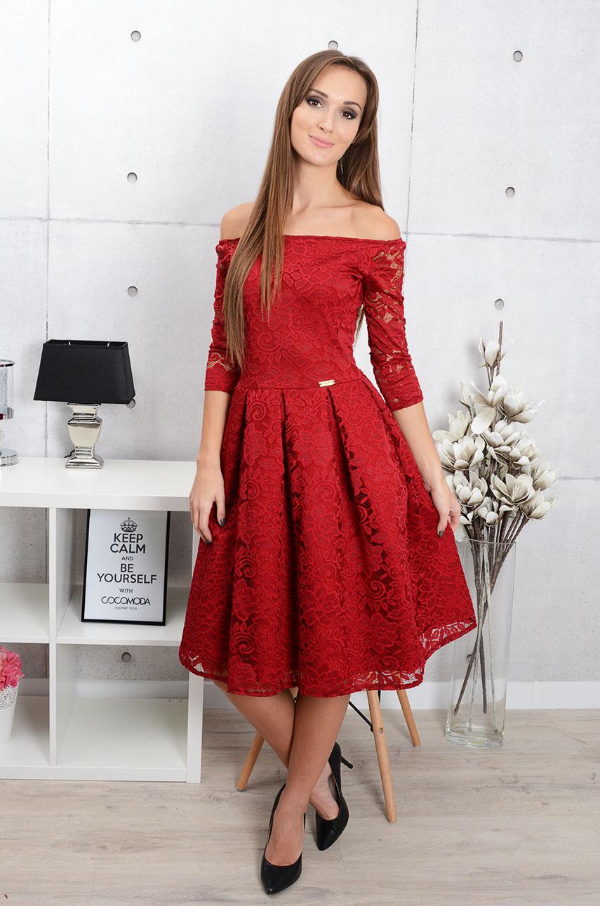 Sukienka koronkowa Scarlet midi burgund