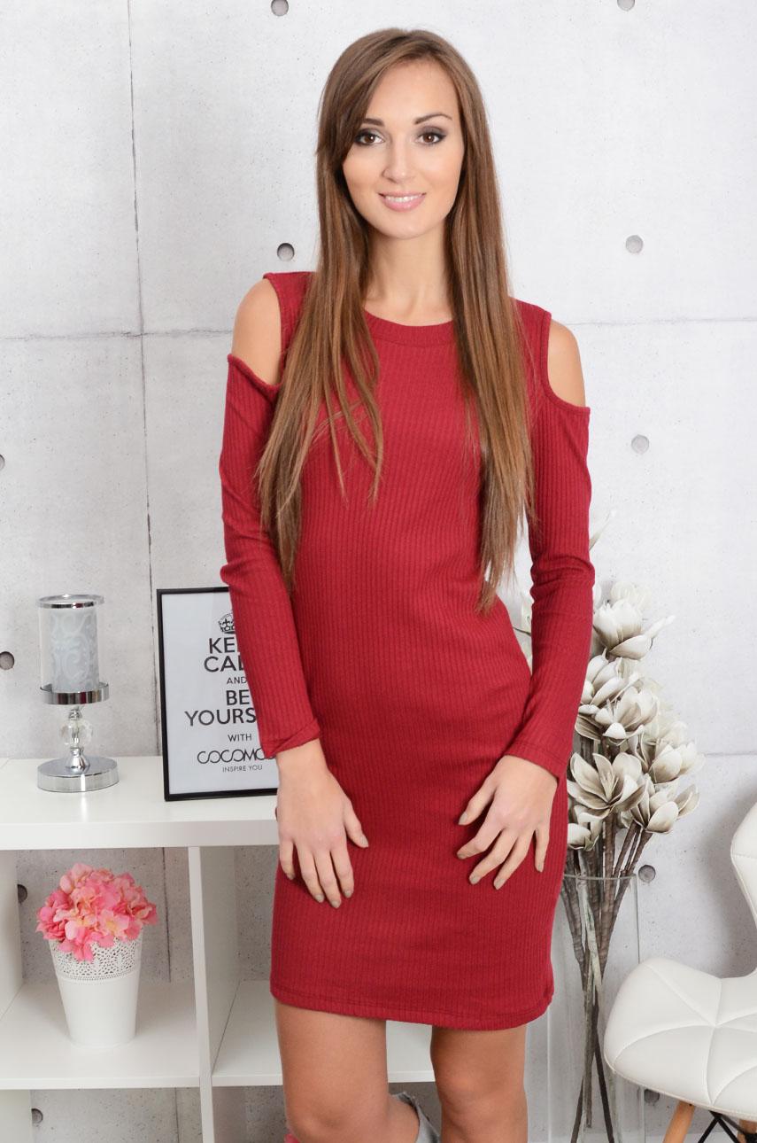 Sukienka prążkowana wycięte ramiona burgund Rozmiar: UNI